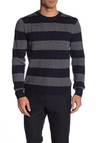 Brooks Brothers Cable Knit Stripe Print Sweater