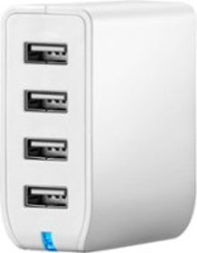 Insignia™ - 4-Port USB Wall Charger - White