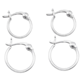 Madisynn Sterling Silver Duo Set of Hoop Earrings