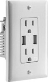 Insignia™ - 3.6A USB Charger Wall Outlet - White