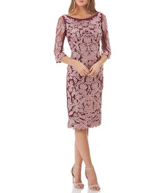 JS Collections Embroidered Soutache Cocktail Dress