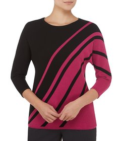 Allison Daley Petite Size Wide Crew-Neck Abstract