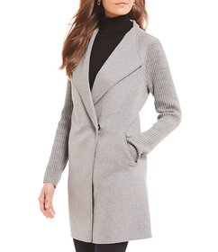 Kenneth Cole Reaction Wool Blend Ribbed Knit Sleev