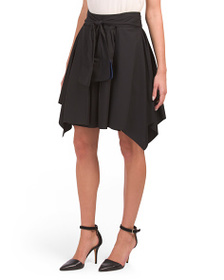 HALSTON HERITAGE Mini Flounce Skirt With Sash