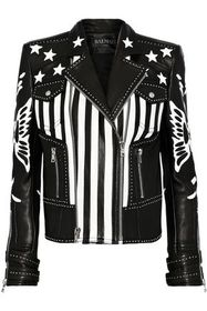 BALMAIN Appliquéd studded leather biker jacket