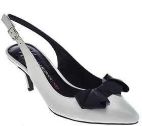 """As Is"" Isaac Mizrahi Live! Leather Slingback Pump"