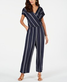 Style & Co Striped V-Neck Jumpsuit, Created for Ma
