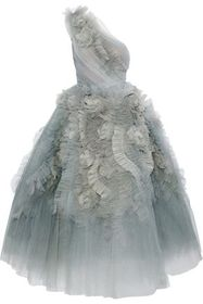 MARCHESA One-shoulder flared ruffled tulle gown