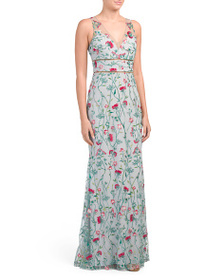 MARCHESA Sleeveless Embroidered Gown With Metallic