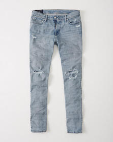 Ripped Athletic Skinny Jeans, Ripped Light Wash