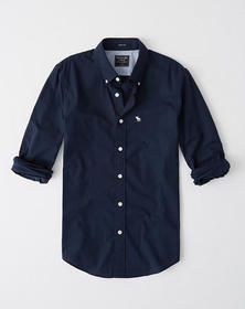 Super Slim Icon Poplin Shirt, NAVY BLUE