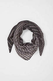 Pleated Striped Square Scarf