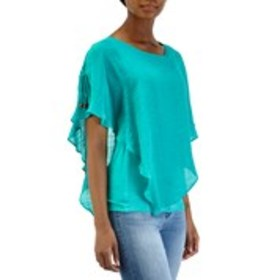 Gauzy Poncho Top with Lace Back