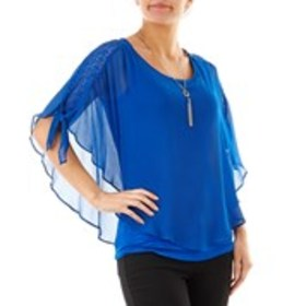 Poncho Overlay Blouse with Lace Accents and Neckla
