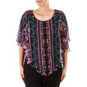 Chiffon Floral Print Poncho Overlay Top