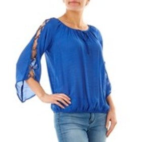 Lattice Sleeve Pleated Blouse with Beaded Accents
