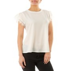 REESE Crepe Crew Neck Top with Lace Sleeves