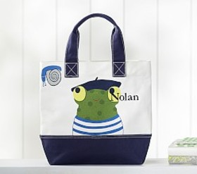 Pottery Barn Nautical French Frog Icon Tote