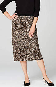 Printed Knit Midi Skirt