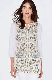 Linen Mixed-Media Embroidered Tunic