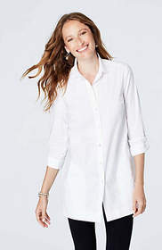 Cotton-Stretch Button-Front Tunic