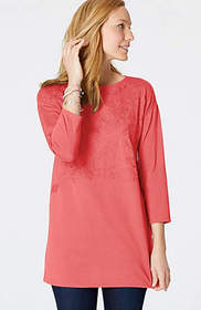 Embroidered Boat-Neck Knit Tunic