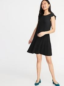 Flutter-Sleeve Jersey Swing Dress for Women