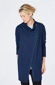 Pure Jill Indigo Long Asymmetrical Jacket
