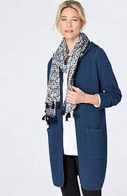 Pure Jill Indigo Long Quilted Jacket
