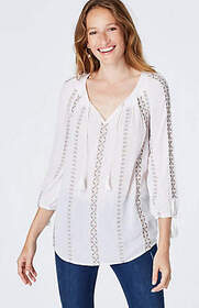 Embroidered Tasseled Peasant Top