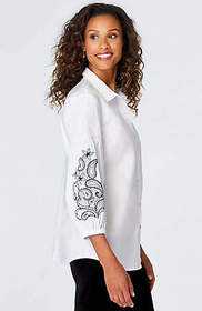 Embroidered-Sleeve Shirt