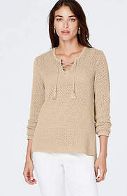 Open-Stitch Lace-Up Sweater