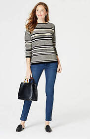 Jacquard-Stripes Mixed-Stitch Pullover