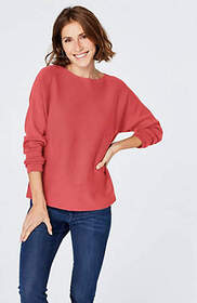Laced-Back Boat-Neck Sweater