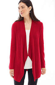 Cashmere Draped Open-Front Cardi