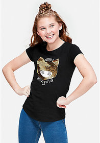 Justice Purrfect Sequin Cat Graphic Tee