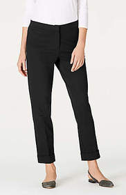 Cotton-Stretch Ponte Cuffed Ankle Pants