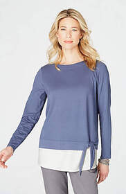 Side-Tie Layered Knit Top