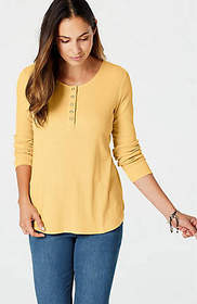Pima Long-Sleeve Henley Top