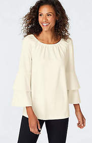 Ponte Knit Tiered-Sleeve Top