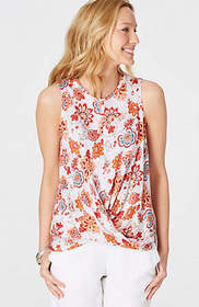 Linen-Knit Draped-Front Sleeveless Top