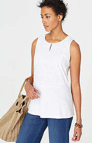 Sleeveless Mixed-Media Embroidered Top