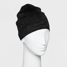 Women's Single Layer Ribbed Beanie with Lurex - Wi
