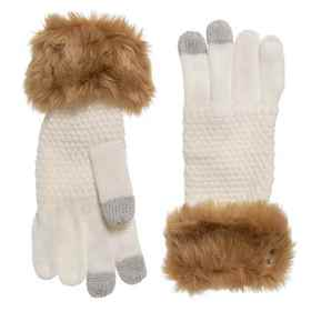 Khombu Faux-Fur Gloves (For Women) in White - Clos