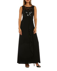Nightway Sequined Bodice Sleeveless Gown