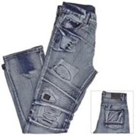 ROAD NARROWS Boys Moto Ripped Jeans with Faux Leat