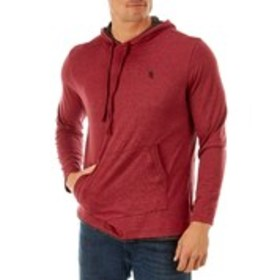 LION'S CREST Mens Hooded Marl Red T-Shirt with Emb