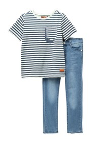 7 For All Mankind Stripe Top & Jeans Set (Toddler