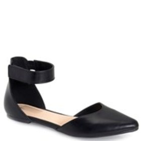 Womens Ankle Strap Almond Toe Flats