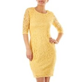 OLIVIA MATTHEWS Lace Sheath Dress with Elbow-Lengt